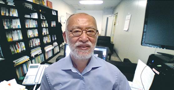 リモート取材風景 公益財団法人 食の安全・安心財団 理事長 唐木英明 先生